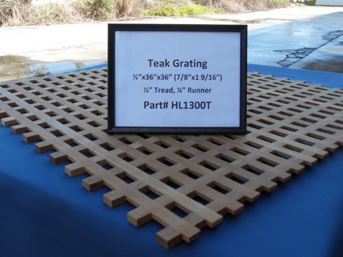 "H & L Woodwork Teak Grating, 1/2"" Tread x 1/4"" Runner HL1300T"