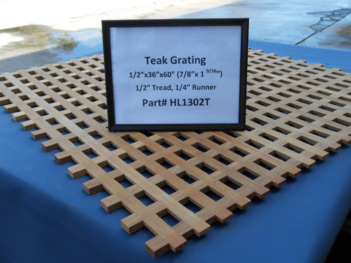 "H & L Woodwork Teak Grating, 1/2"" Tread x 1/4"" Runner HL1302T"