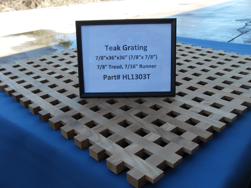 "H & L Woodwork Teak Grating, 7/8"" Tread x 7/16"" Runner HL1303T"