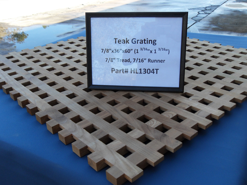 "H & L Woodwork Teak Grating, 7/8"" Tread x 7/16"" Runner HL1304T"