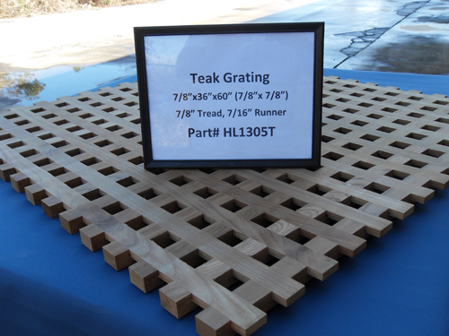 "H & L Woodwork Teak Grating, 7/8"" Tread x 7/16"" Runner HL1305T"