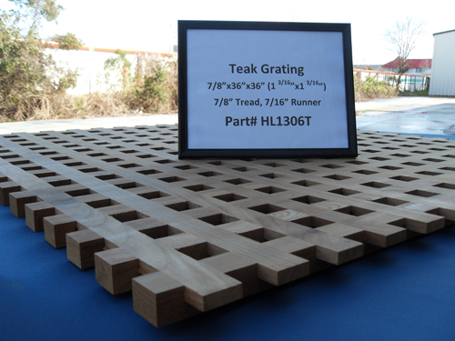 "H & L Woodwork Teak Grating, 7/8"" Tread x 7/16"" Runner HL1306T"