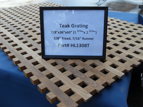 "H & L Woodwork Teak Grating, 7/8"" Tread x 7/16"" Runner HL1308T"