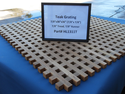 "H & L Woodwork Teak Grating, 7/8"" Tread x 7/8"" Runner HL1311T"