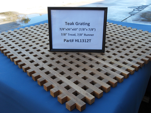 "H & L Woodwork Teak Grating, 7/8"" Tread x 7/8"" Runner HL1312T"