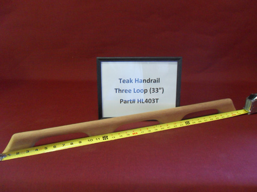 "H & L Woodwork 33"" Three Loops Teak Handrail HL403T"