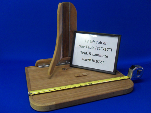 H & L Marine, Teak and White Laminate TV Lift Tab or Navigation Table HL612T