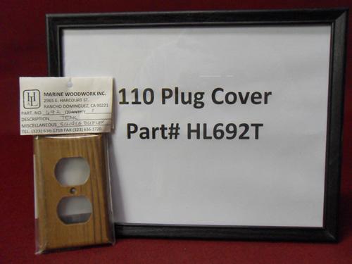 H & L Marine, Teak 110V Plug Cover HL692T